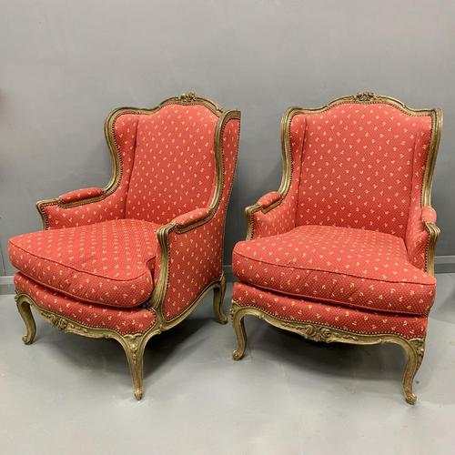 Pair of French Painted Wing Armchairs (1 of 8)