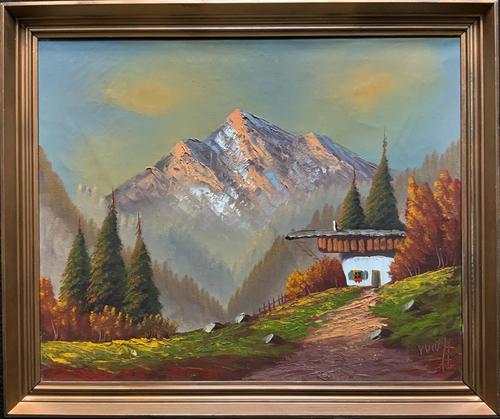 The Three Peaks 20thc Vintage Swiss School - Mountainous Landscape Oil Painting (1 of 12)