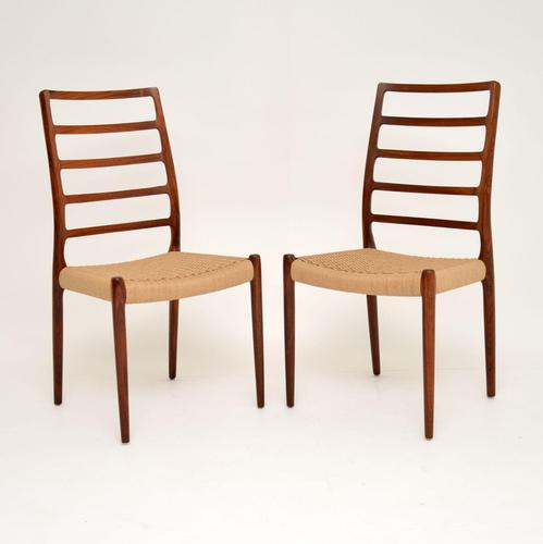 Pair of Danish Rosewood 82 Chairs by Niels Moller Vintage 1960's (1 of 13)