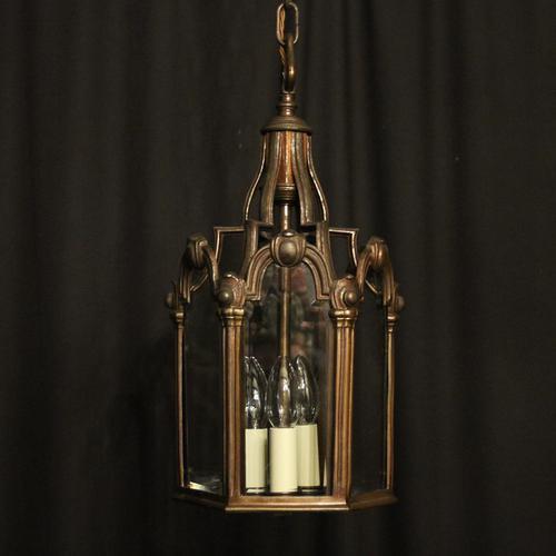 French Bronze Triple Light Antique Hall Lantern (1 of 10)