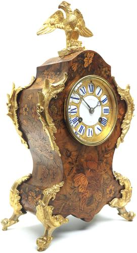 Wow! Phenomenal French Boulle Mantel Clock Multi Wood floral inlay 8 Day Mantle Clock (1 of 6)