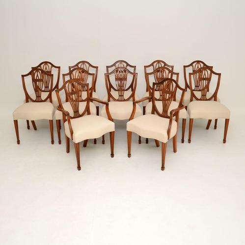 Set of 12 Antique Sheraton Style Shield Back Dining Chairs (1 of 15)
