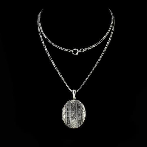 Antique Aesthetic Large Sterling Silver Locket with Long Curb Chain Necklace (1 of 11)
