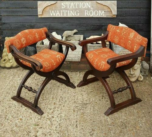 Quality Near Pair of Mahogany Antique x frame Chairs (1 of 5)