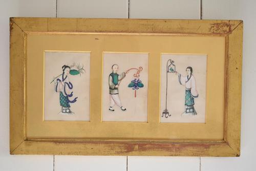 Set of Three Antique Chinese Pith Paper Paintings (1 of 10)