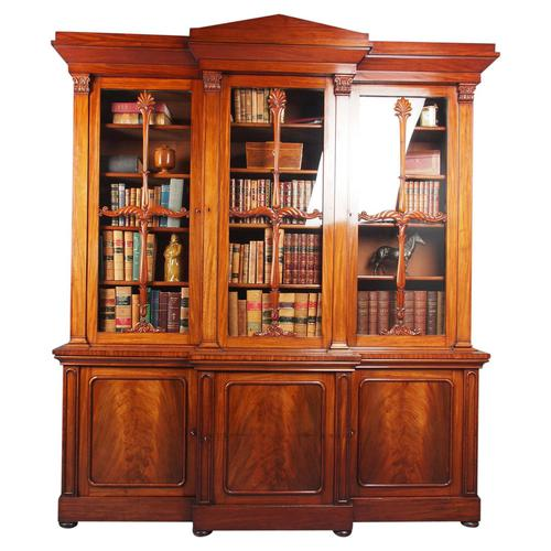 Antique George IV Mahogany Breakfront Library Bookcase (1 of 14)