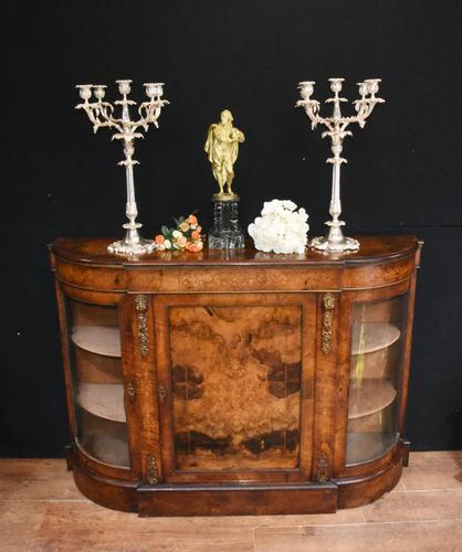 Victorian Antique Credenza Cabinet Bow End 1860 (1 of 8)