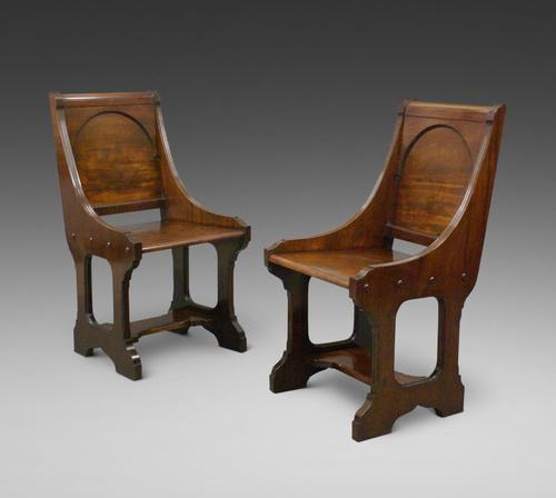 A Pair 19th Century Of Hall Chairs (1 of 6)