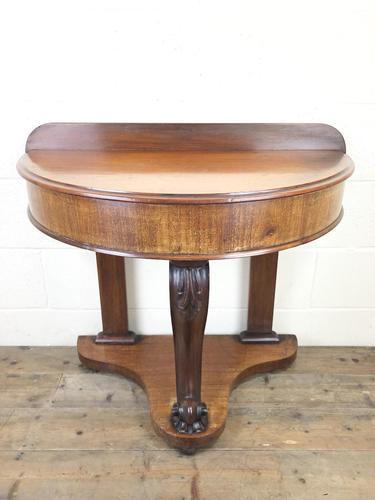 Victorian Mahogany Demi Lune Console Table (1 of 8)