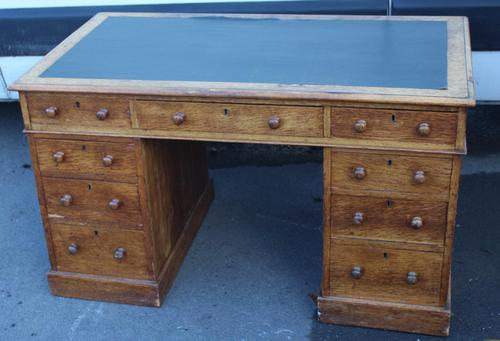 1920's Solid Light Oak Pedestal Desk with Green Leather Top. (1 of 5)