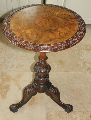 Antique 19th Century Mahogany & Burr Maple Marquetry Veneer Side Table (1 of 14)