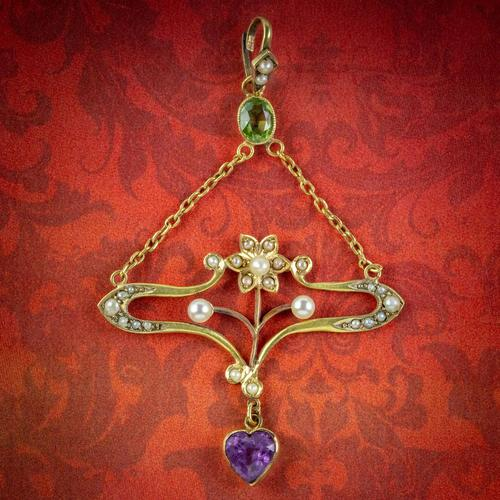 Antique Art Nouveau Suffragette Pendant 15ct Gold Peridot Amethyst Pearl c.1910 (1 of 6)
