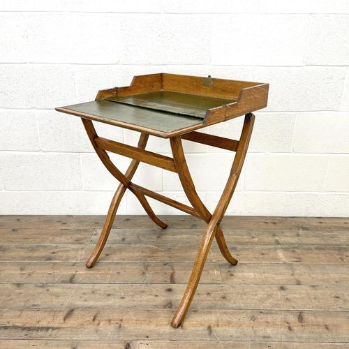 Antique Oak Folding Campaign Desk (1 of 10)