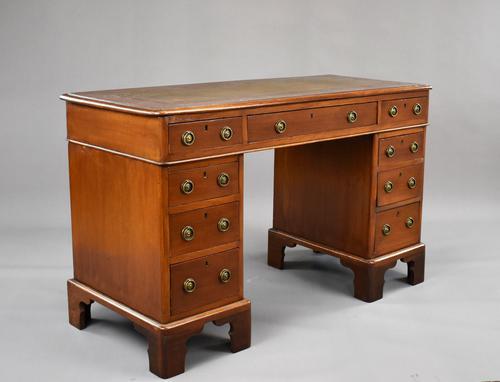 Victorian Oak & Walnut Pedestal Desk (1 of 10)