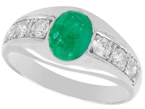 0.85ct Emerald & 0.30ct Diamond, Platinum Dress Ring - Vintage c.1940 (1 of 9)