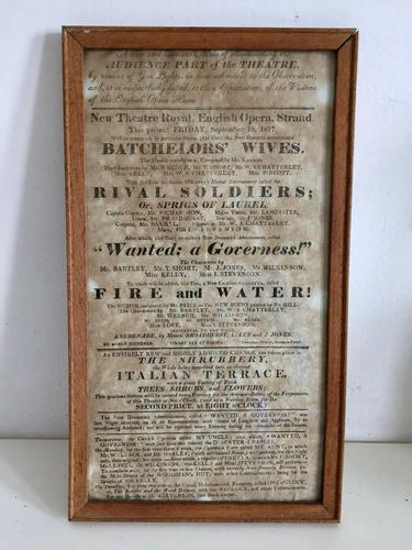 Antique Theatre Poster 1817 was the English Opera House, Now Lyceum, London Rare (1 of 7)