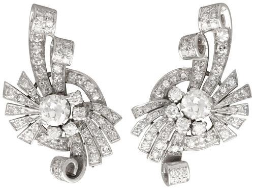 4.39ct Diamond & Platinum Earrings - Art Deco - Vintage c.1940 (1 of 9)