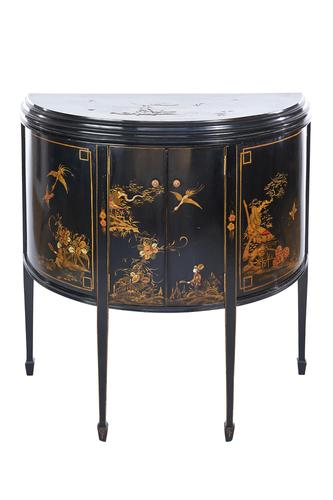 Chinoiserie Demi Lune 2 Door Side Cabinet c.1920 (1 of 9)