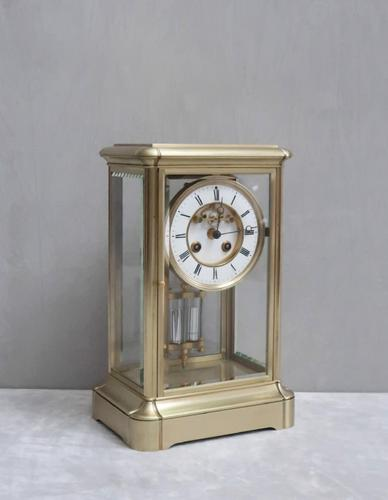French Brass Four Glass Mantel Clock by Samuel Marti (1 of 7)