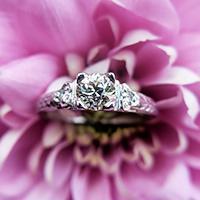 Art Deco Platinum Diamond Solitaire Ring, Antique Diamond Engagement Ring (1 of 8)