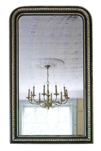 19th Century ebonised and gilt mirror overmantle wall (1 of 9)