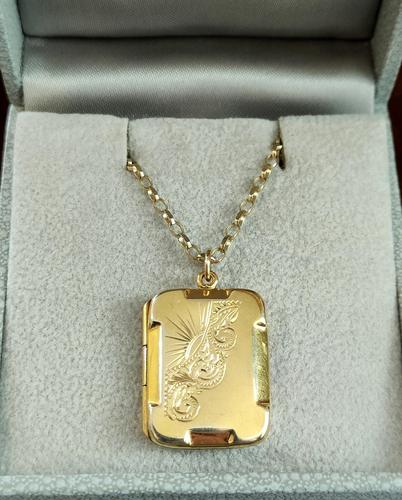 Art Deco 9ct Back & Front Gold Locket on Chain (1 of 10)