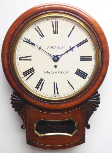 Rare Antique Drop Dial Wall Clock 8 Day Single Fusee Movement (1 of 13)