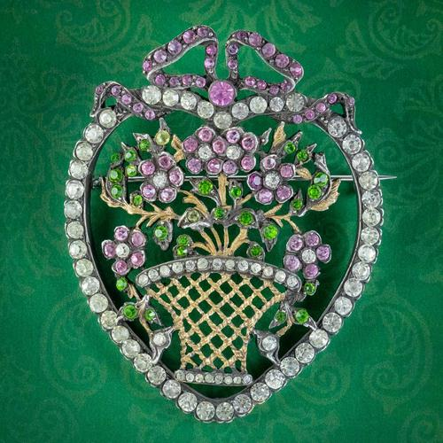 Antique Edwardian Suffragette Paste Heart & Flower Basket Brooch c.1910 (1 of 7)