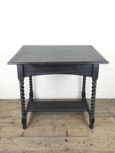 Early 20th Century Oak Side Table with Barley Twist Legs (1 of 9)