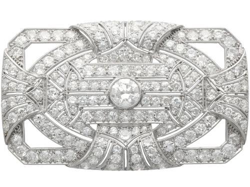 8.13ct Diamond & Platinum Brooch - Art Deco c.1935 (1 of 9)