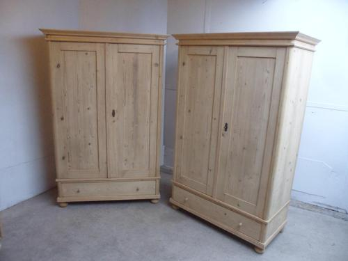 Quality Pair of 1 Panel Antique Pine Knockdown Wardrobes to wax / paint (1 of 11)
