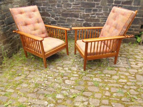 Pair of Arts & Crafts Reclining Chairs (1 of 12)