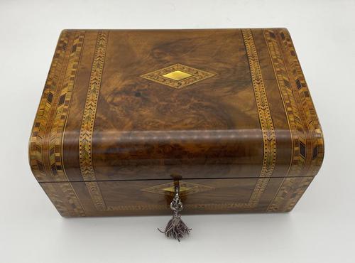 Victorian Inlaid Walnut & Tunbridge Ware Jewellery Box (1 of 14)
