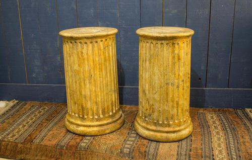 Pair of 19th Century Simulated Marble Plinths. Reeded Pedestal Columns (1 of 6)
