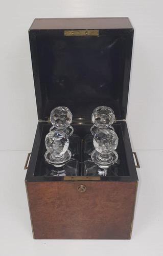 19th Century Brass Bound Burr Walnut Decanter Box (1 of 6)