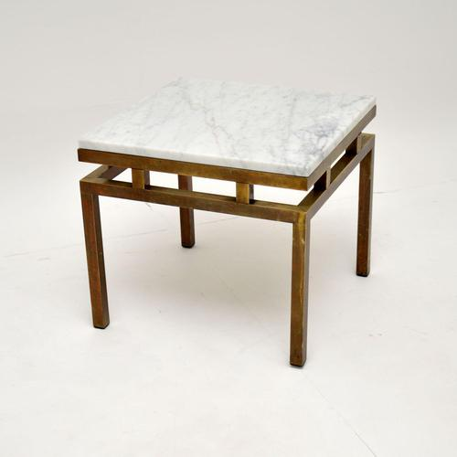 Vintage Italian Solid Brass & Marble Coffee / Side Table (1 of 7)