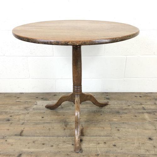 Antique Oak Circular Tripod Table (1 of 9)