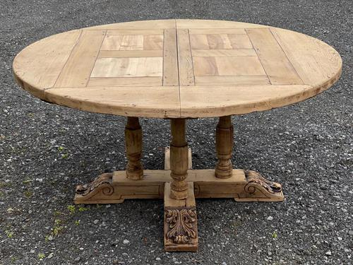 Large Round French Bleached Oak Farmhouse Table with Extensions (1 of 38)