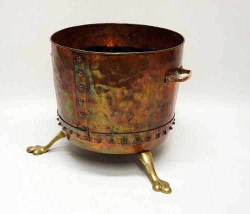 Large Victorian  studded copper  fireside log  bucket or planter on brass feet (1 of 6)