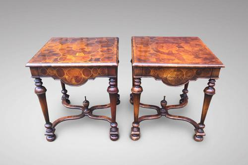 Pair of Walnut Oyster Veneer Side Tables (1 of 3)