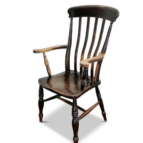 Antique Elm Lath Back Armchair (1 of 9)