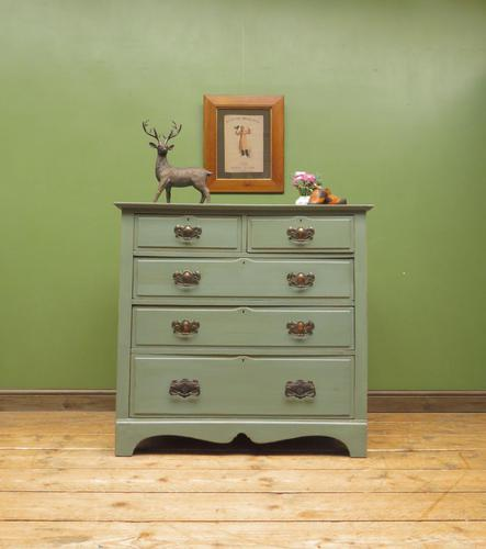 Antique Gustavian Style Blue Painted Chest of Drawers (1 of 18)