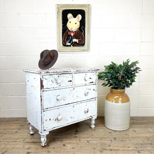 Small Distressed White Painted Victorian Chest of Drawers (1 of 10)