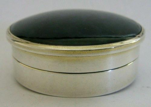 Super Rare English Solid Sterling Silver Moss Agate Snuff Box 1912 Antique (1 of 9)