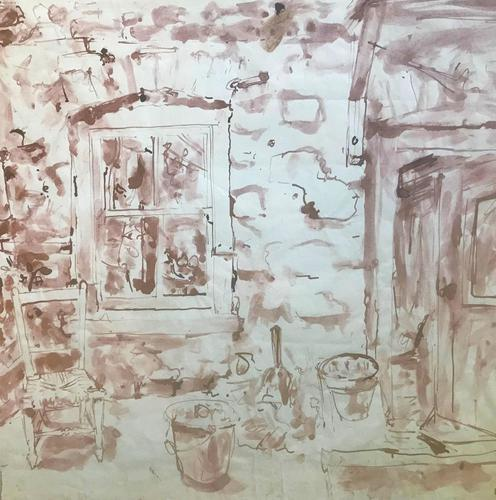 Original Sepia Toned Watercolour 'The Old Farmhouse Kitchen by Rozanne Palmer c.1965 (1 of 1)