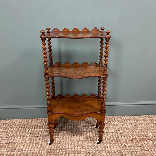 Fine Quality Small Victorian Figured Walnut Antique Whatnot (1 of 5)