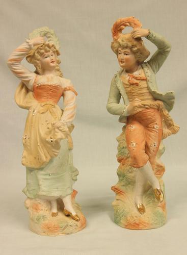 Antique Pair of Bisque Figurines of Lady & Gentleman (1 of 13)