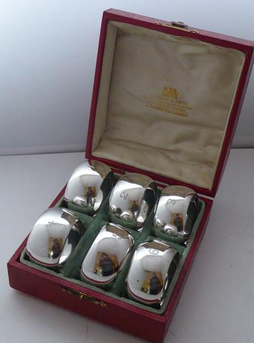 Boxed Set 6 1904 Hallmarked Solid Silver Napkin Rings Serviette Ring (1 of 9)
