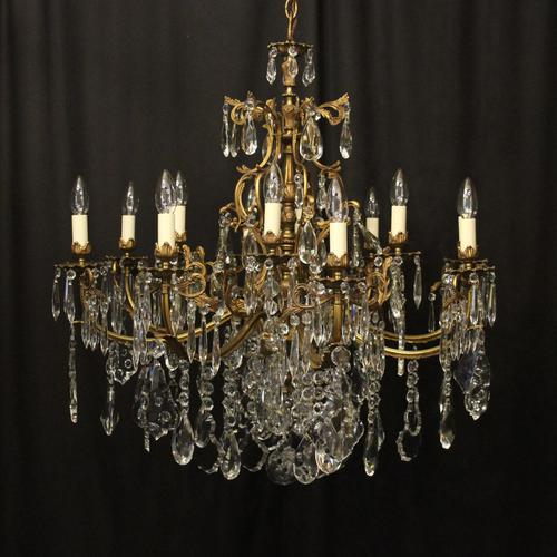 French 12 Light Gilded Bronze Antique Chandelier (1 of 10)