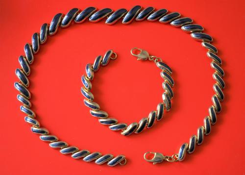 Excellent Vintage Gilt Blue Enamel Necklace & Bracelet Boxed Set  - Ideal Gift / Present (1 of 7)